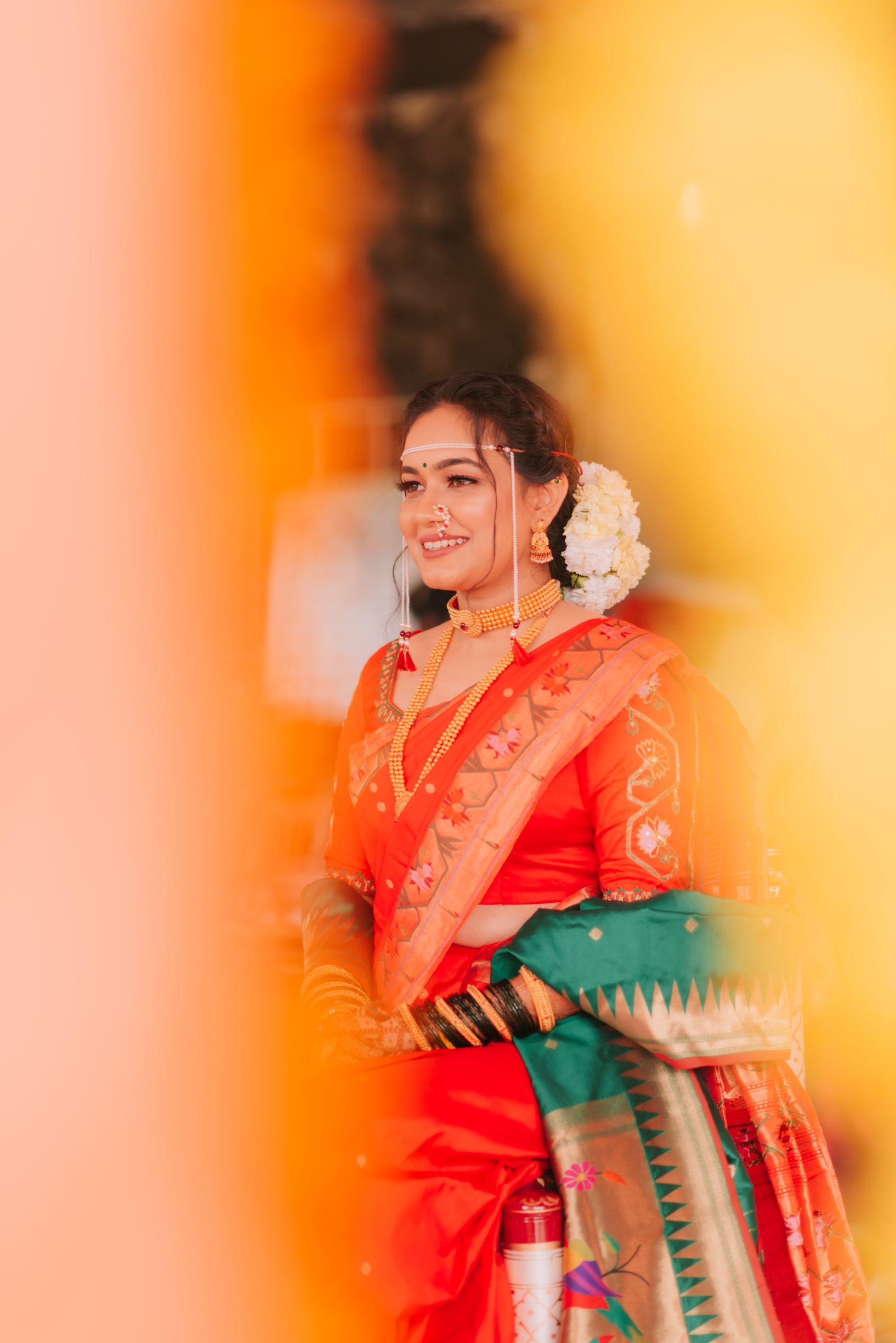 maharashtrian bride in orange silk saree