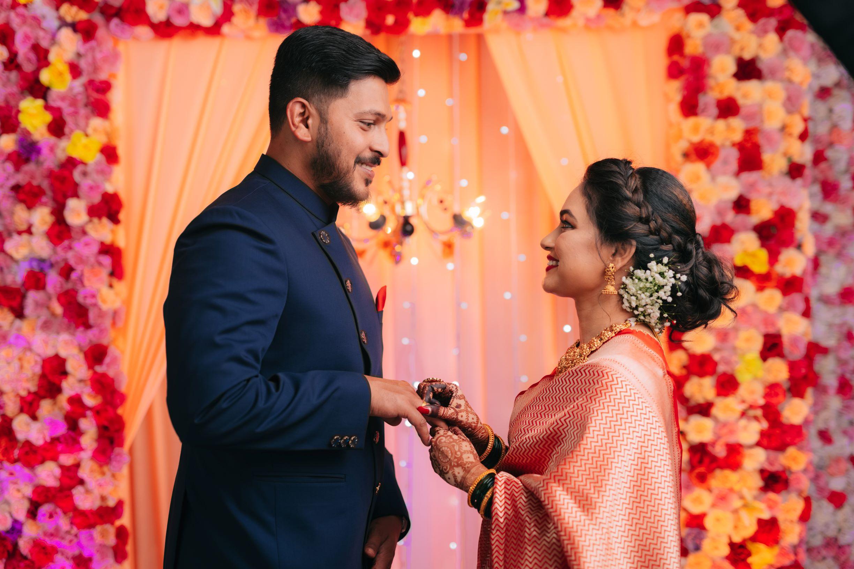 maharashtrian couple at their engagement