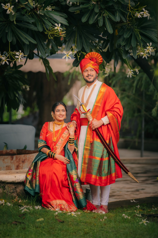 maharashtrian couple in orange