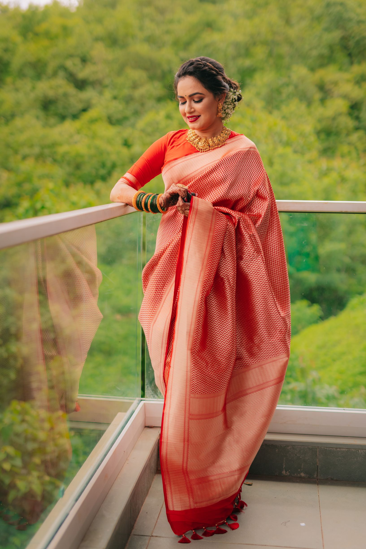 marathi bride in orange silk saree