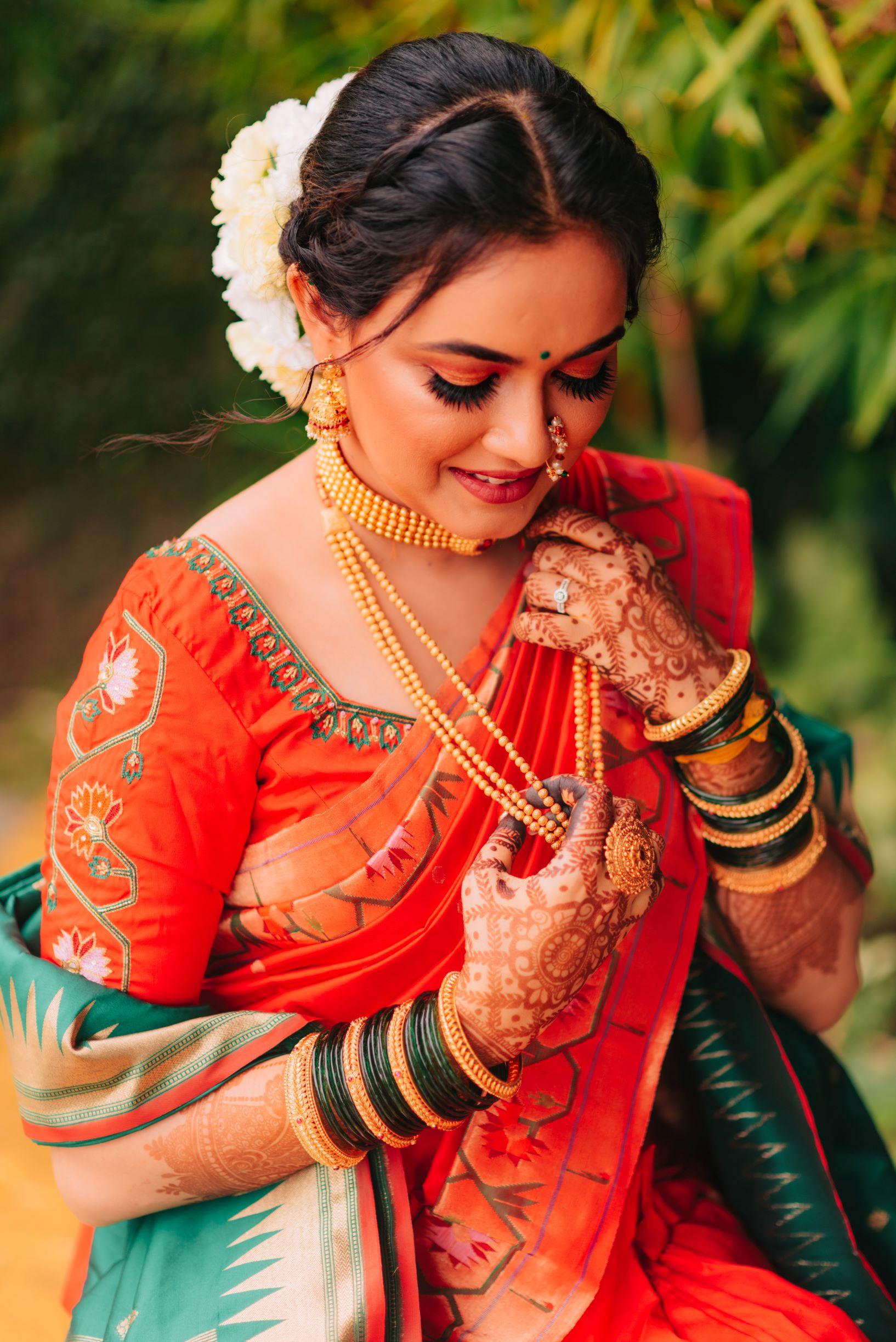 marathi bride in silk saree