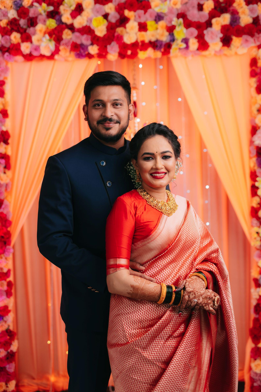 marathi couple at their engagement