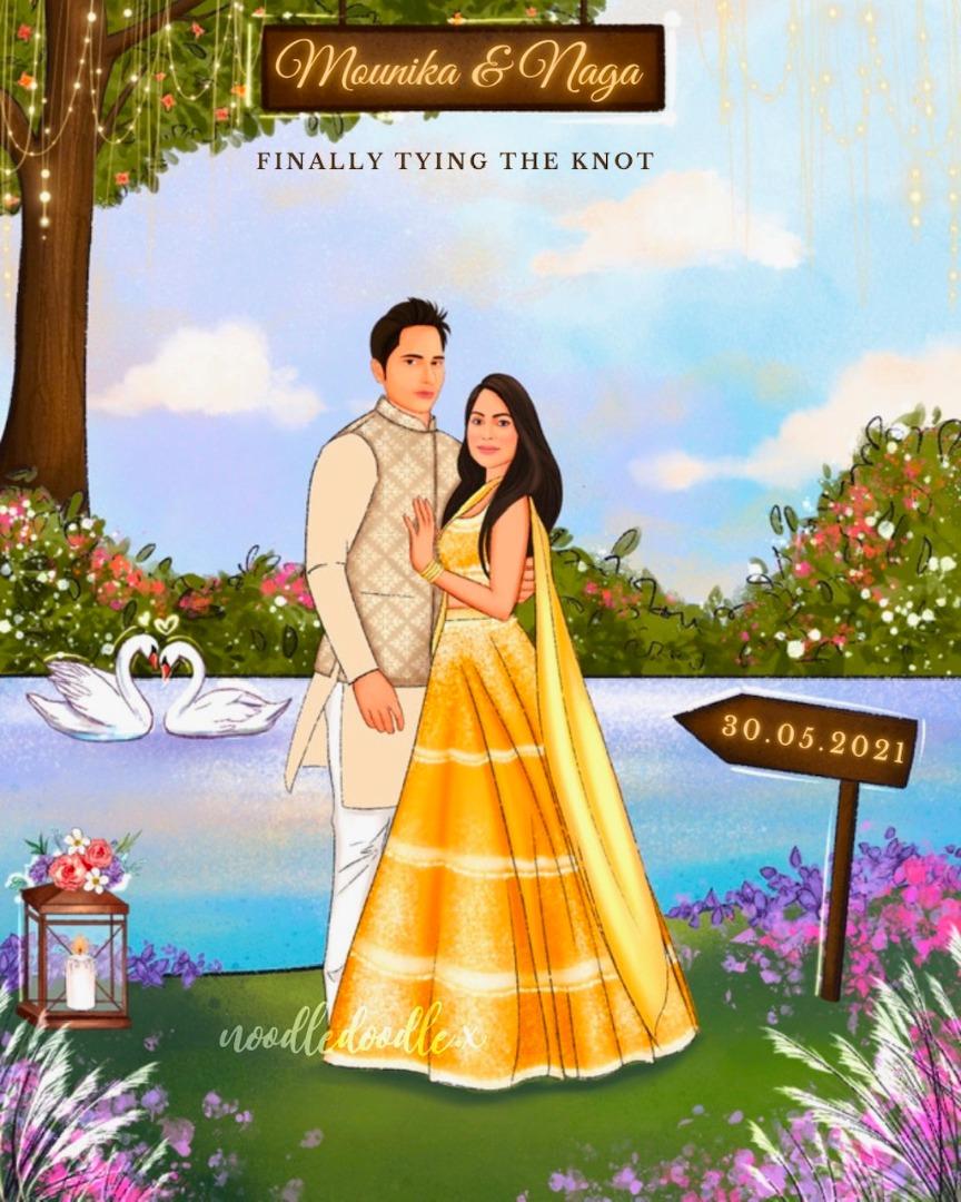 couple illustrations for the digital e-invite