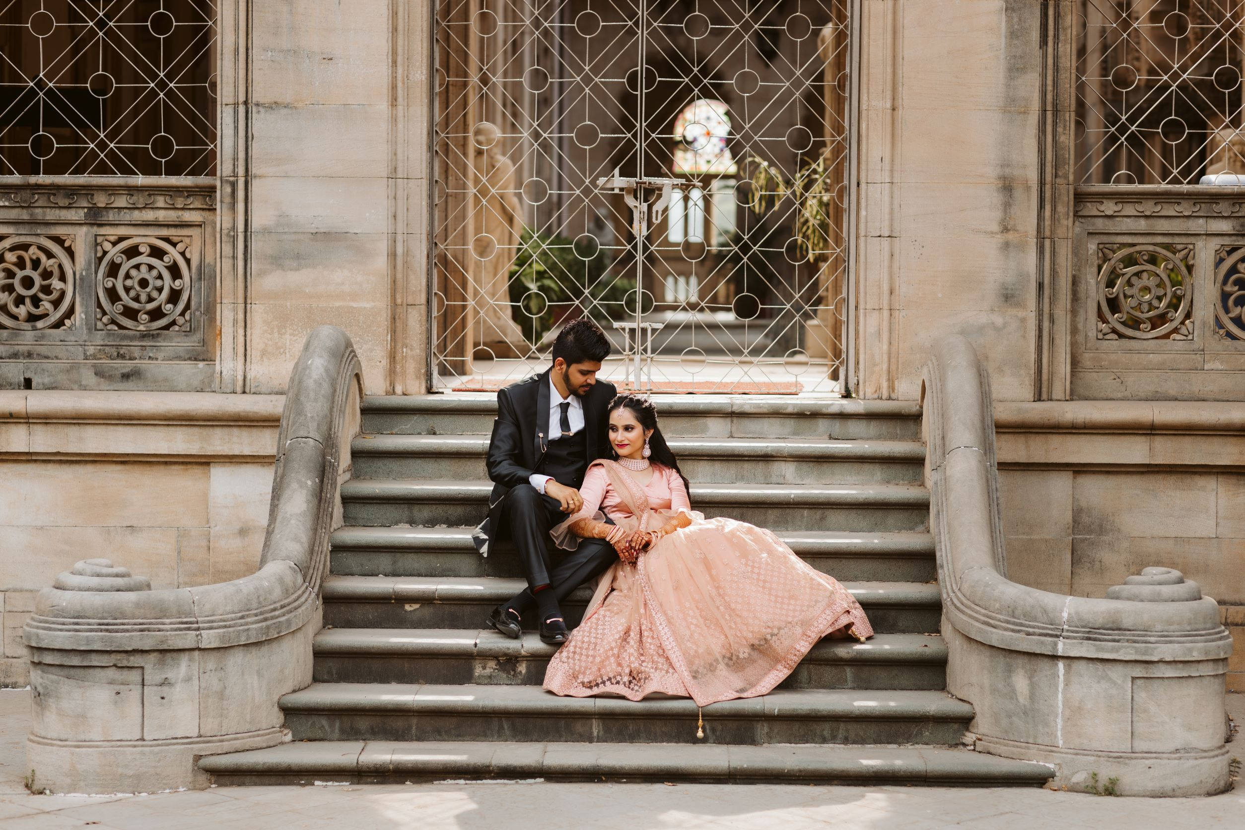 outdoor couple shoot on stairs