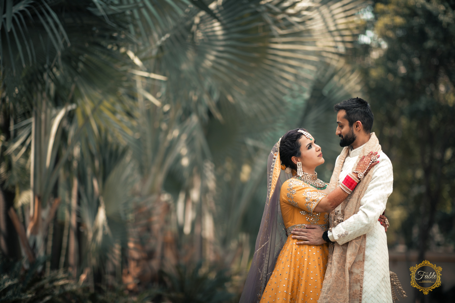 outdoor shoot of the couple at their wedding