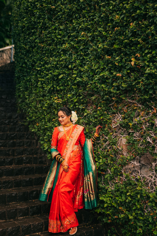 outdoor shot of the marathi bride