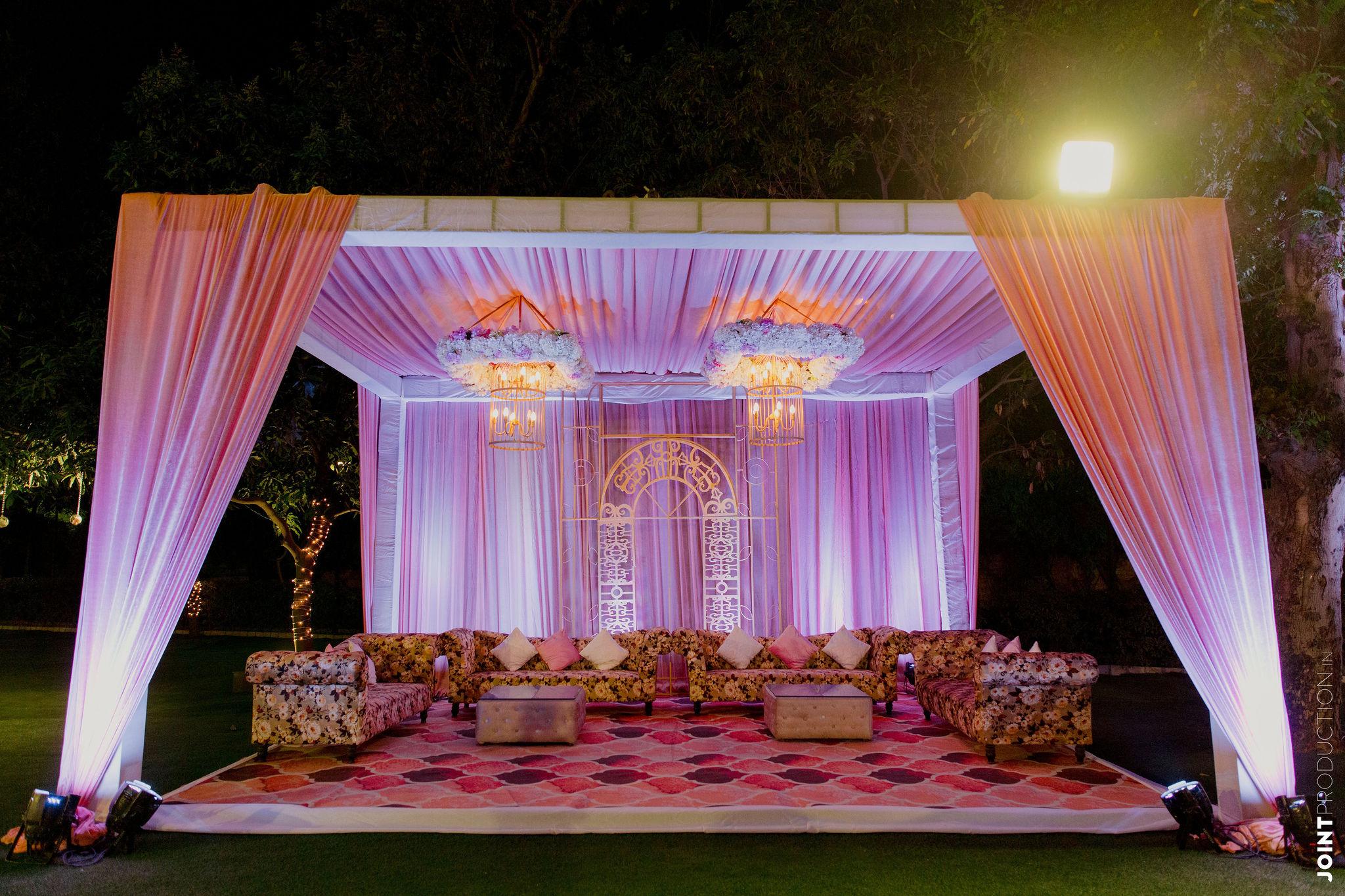 pastel pink engagement decor