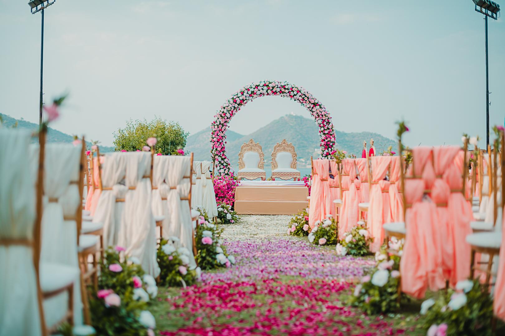 pastel wedding decor by the lake