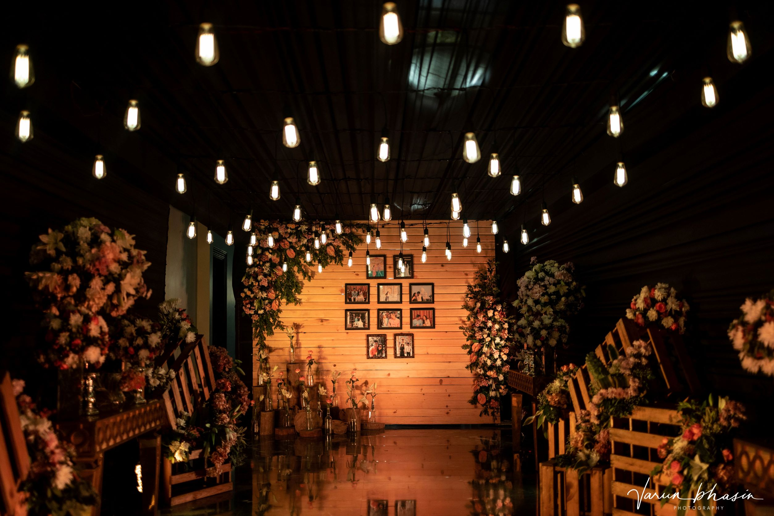 photowall decorated with lights