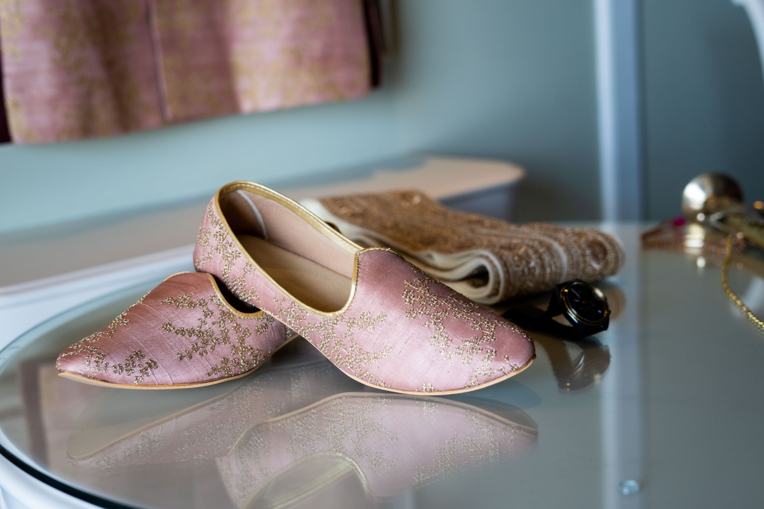 pink embroidered shoes