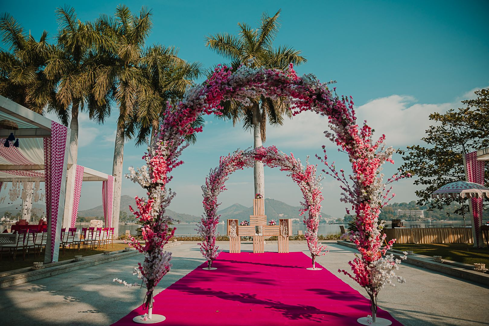 pink floral entrance decor