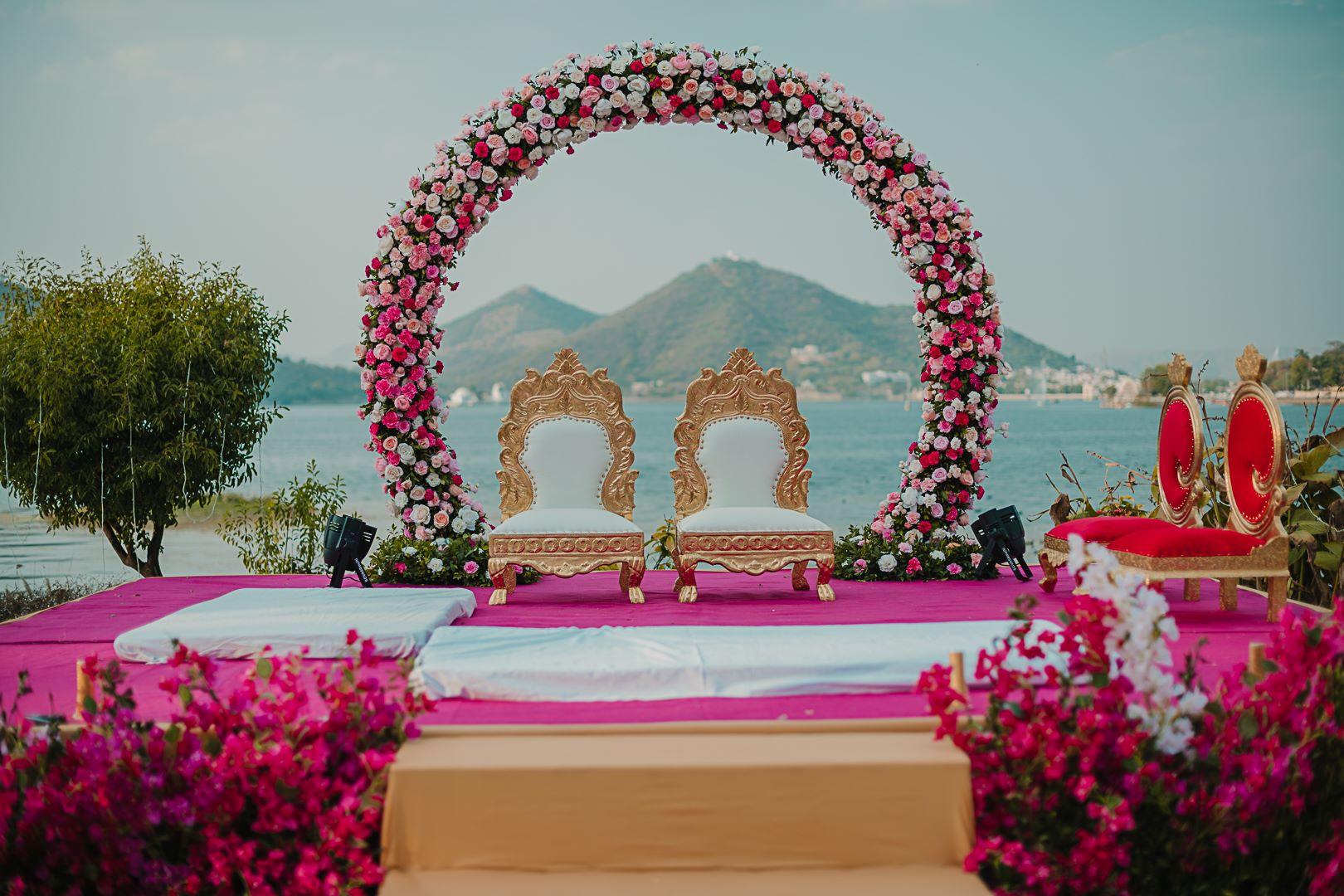 pink floral mandap decor