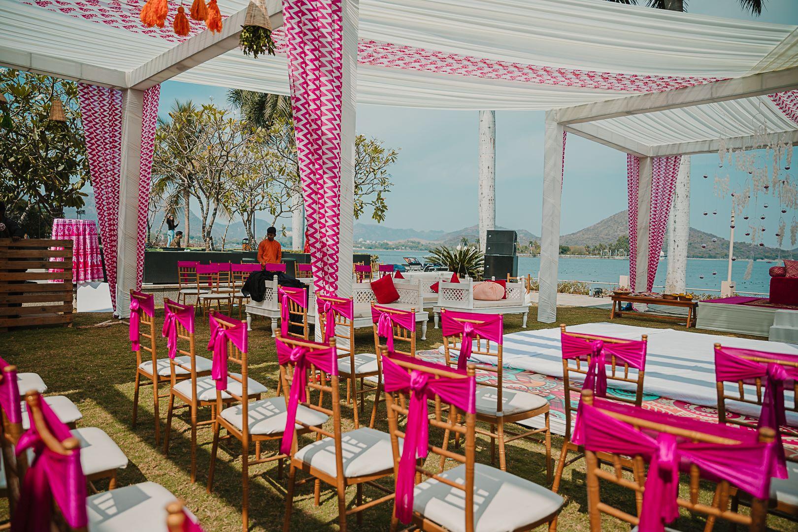 pink udaipur wedding decor