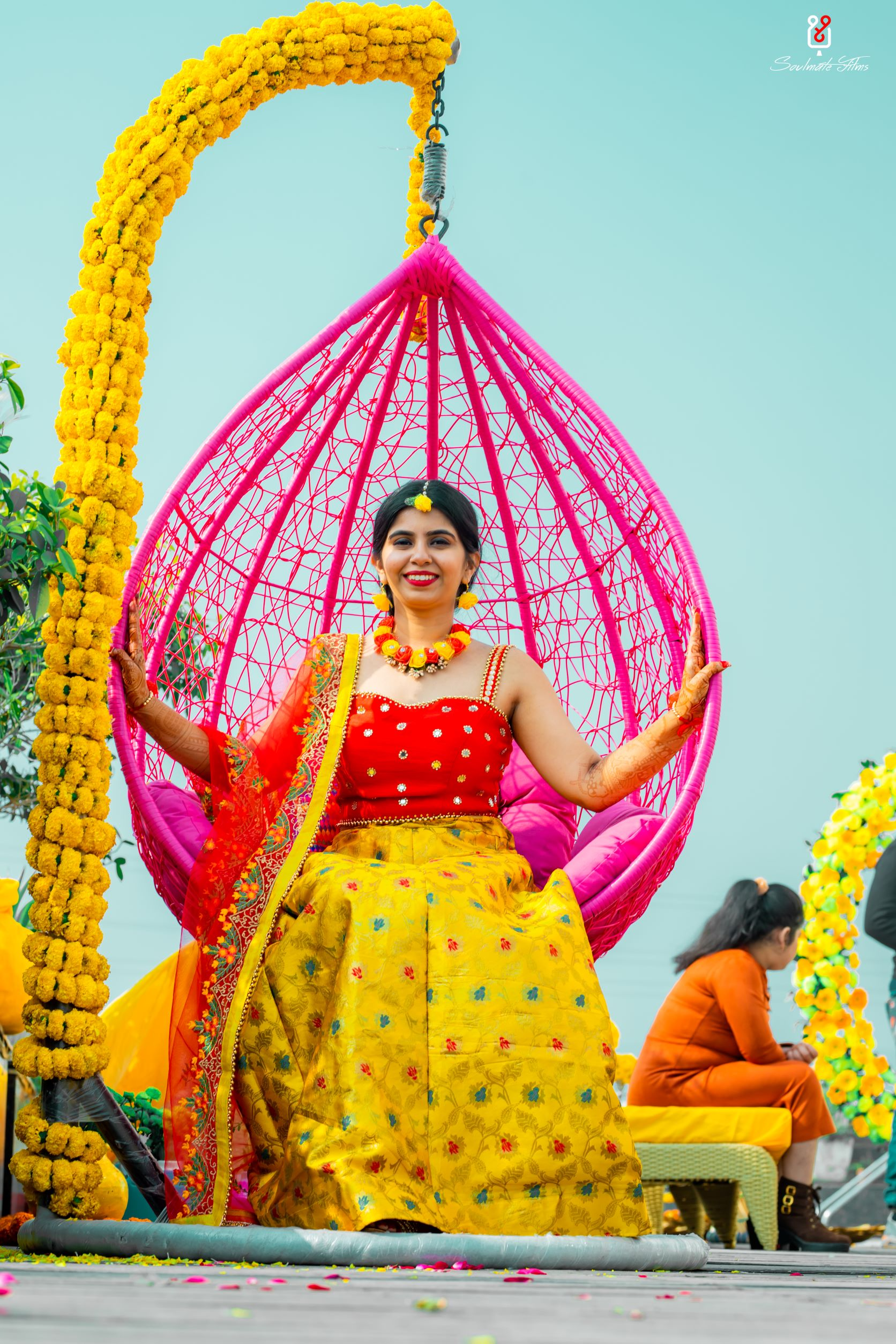 pretty bride in yellow lehenga for haldi