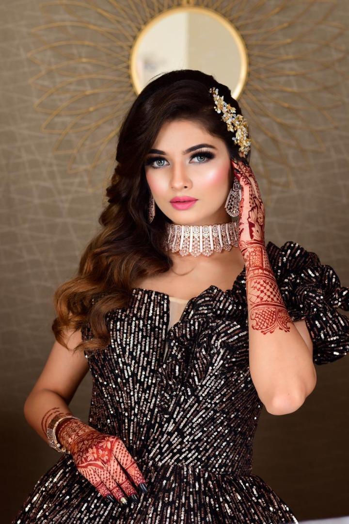 bride in black gown