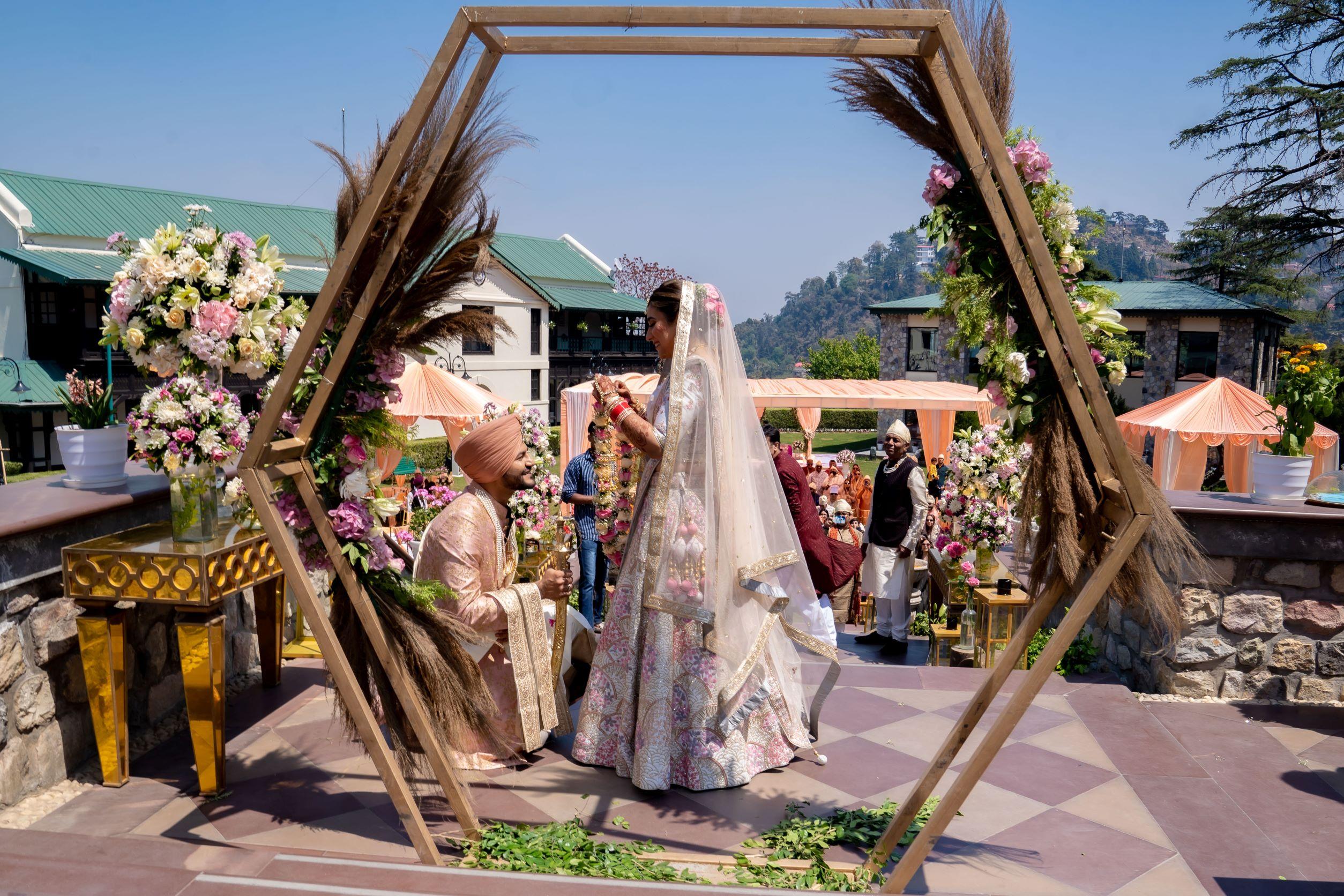 punjabi couple at their mountain wedding