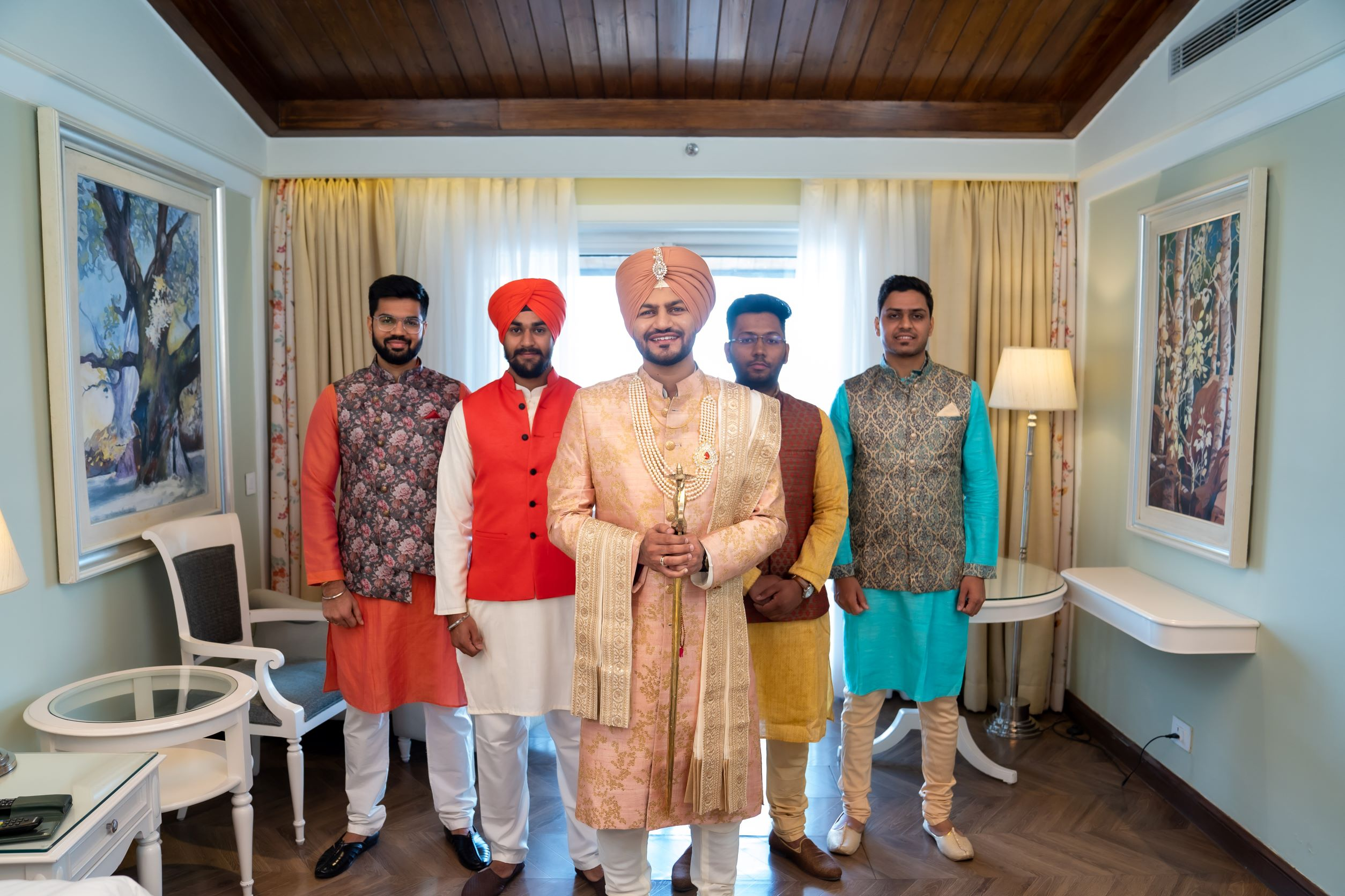 punjabi groom poses with his groomsmen