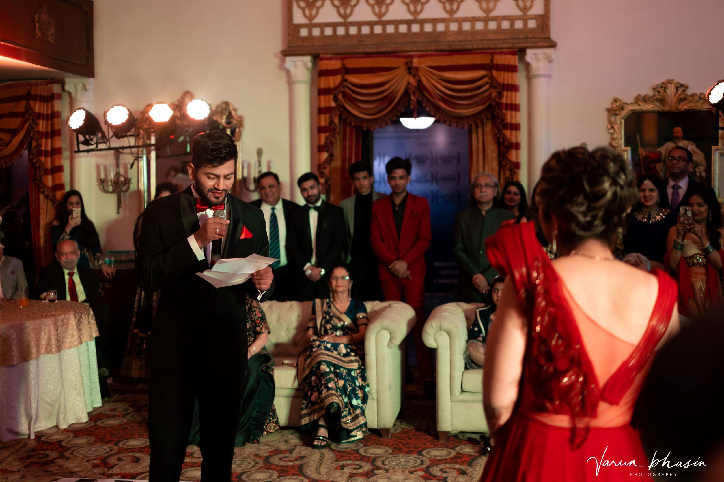 punjabi groom reading his vows