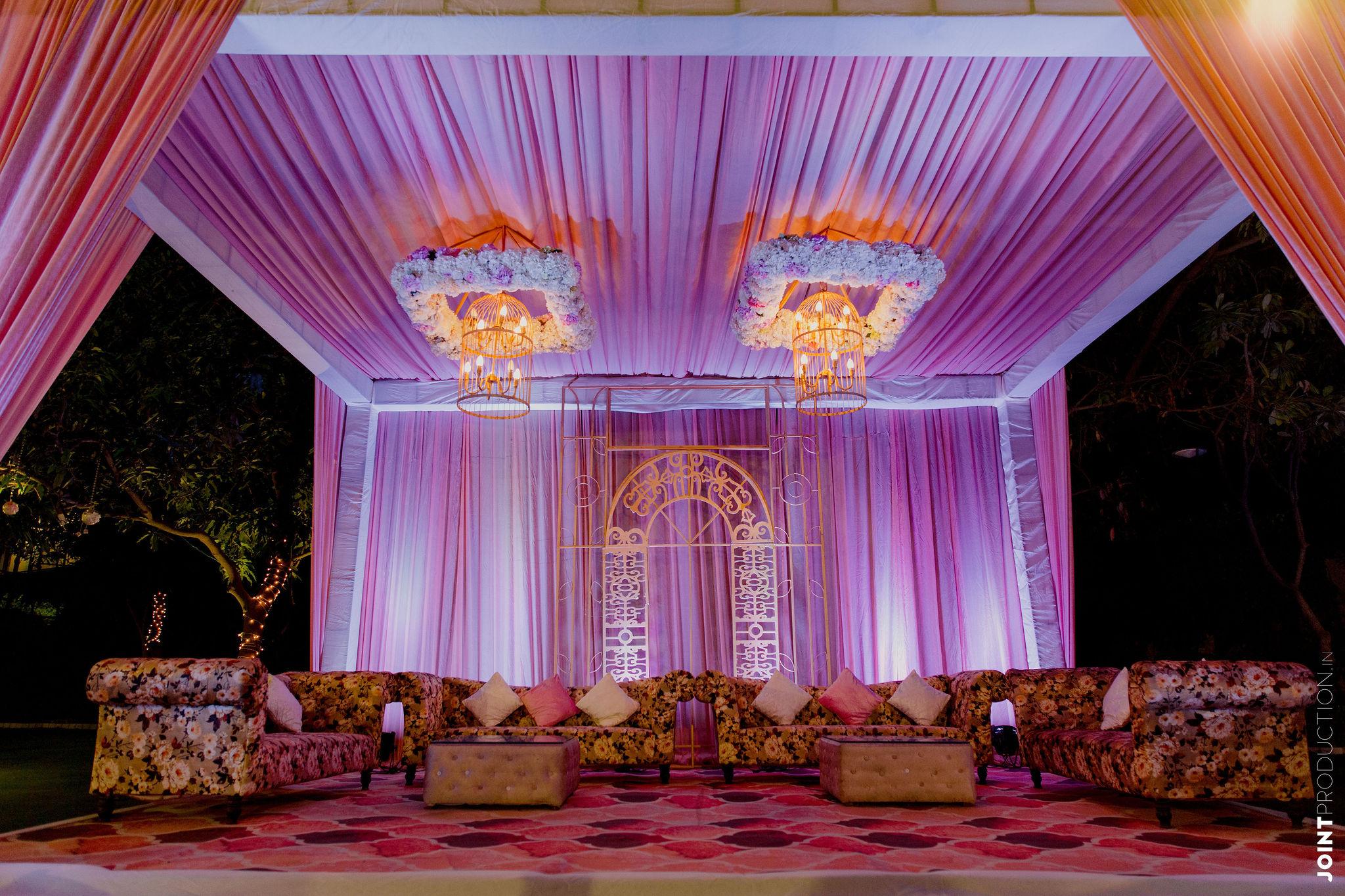 purple pink wedding decor