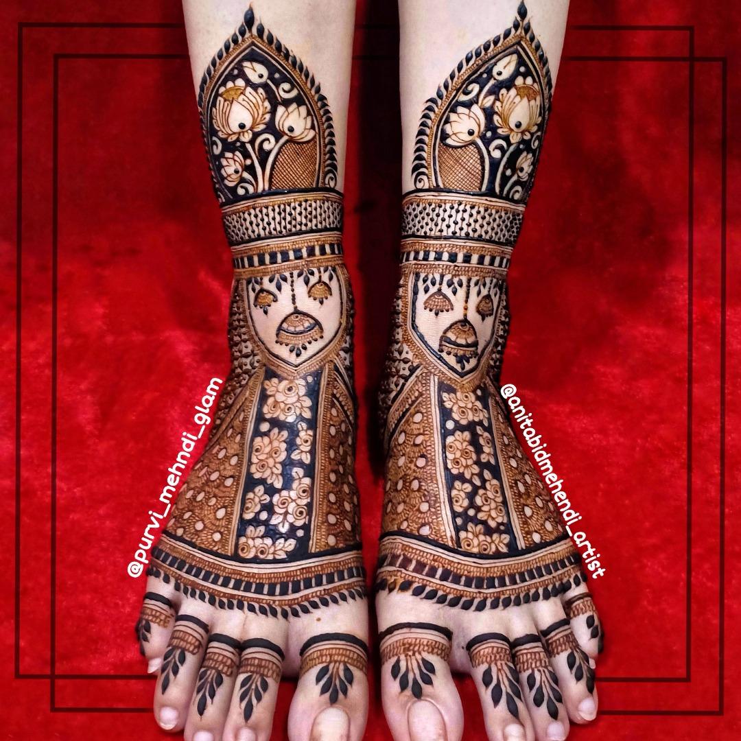 stunning bridal feet mehendi