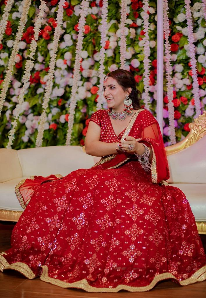red and gold bridal dress