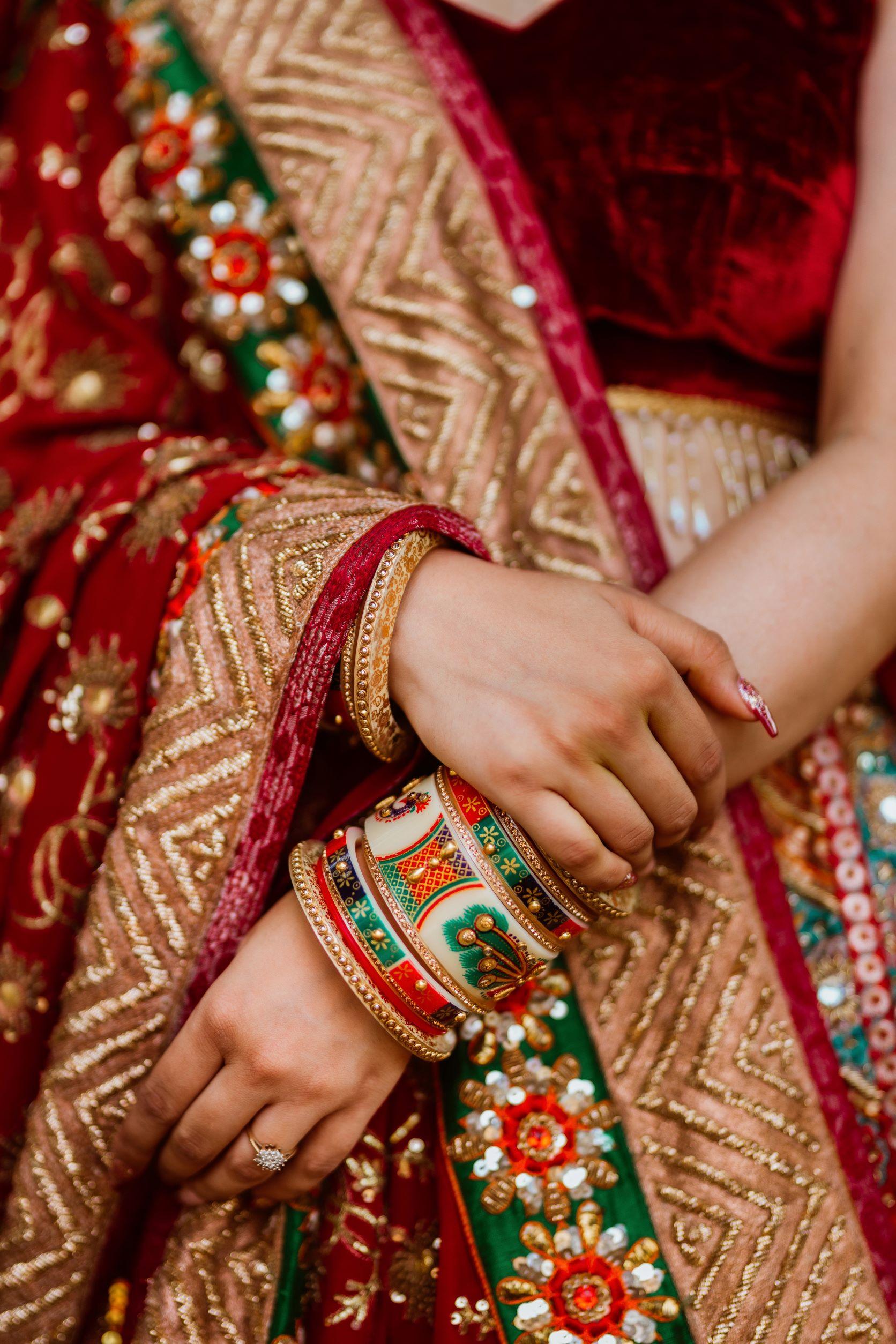 red and green bridal mehendi