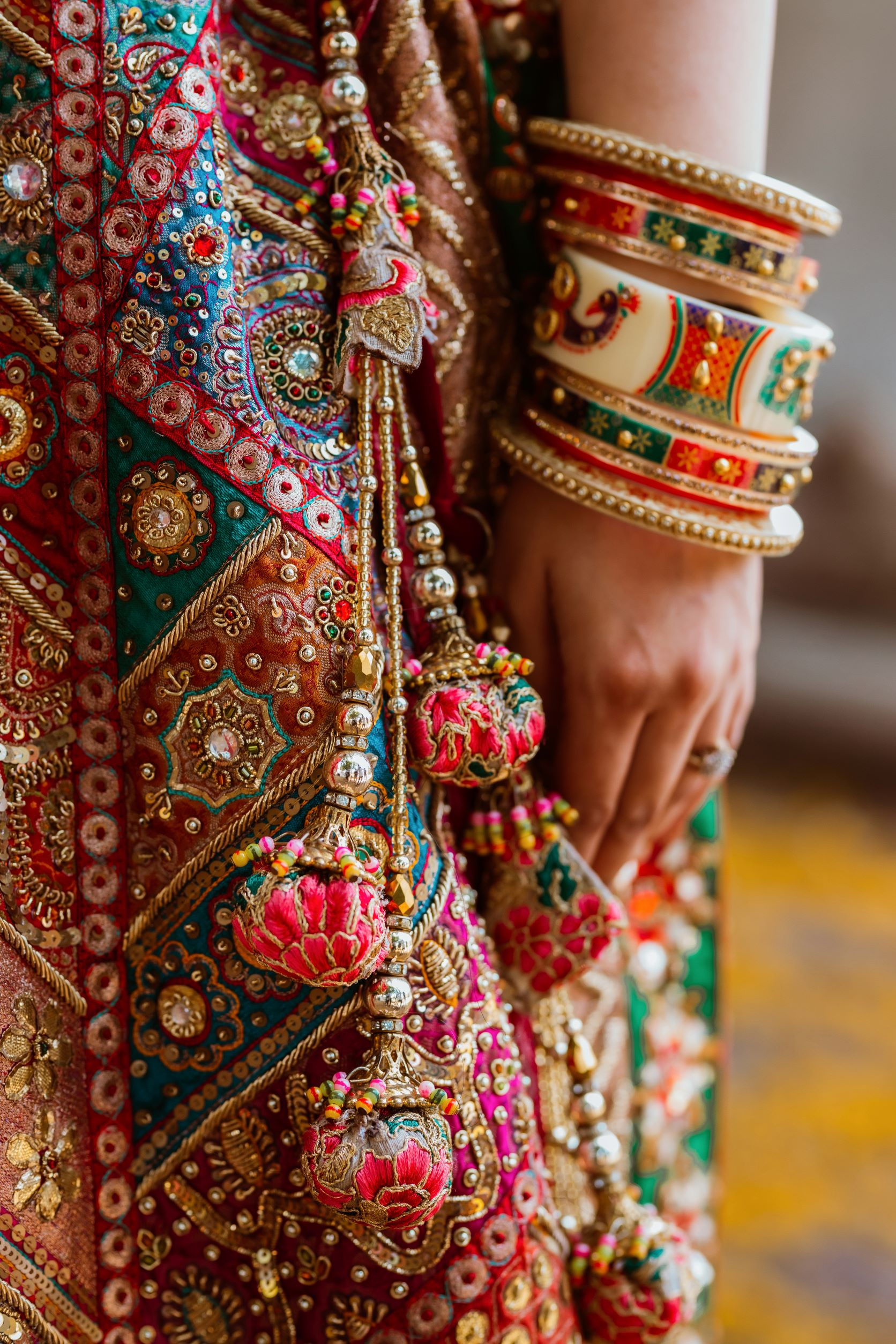 red bridal bangles with peacock design