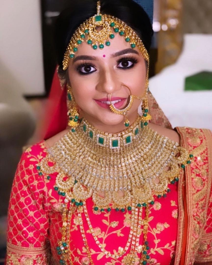 Golden and Green Mang Tikka for Bride