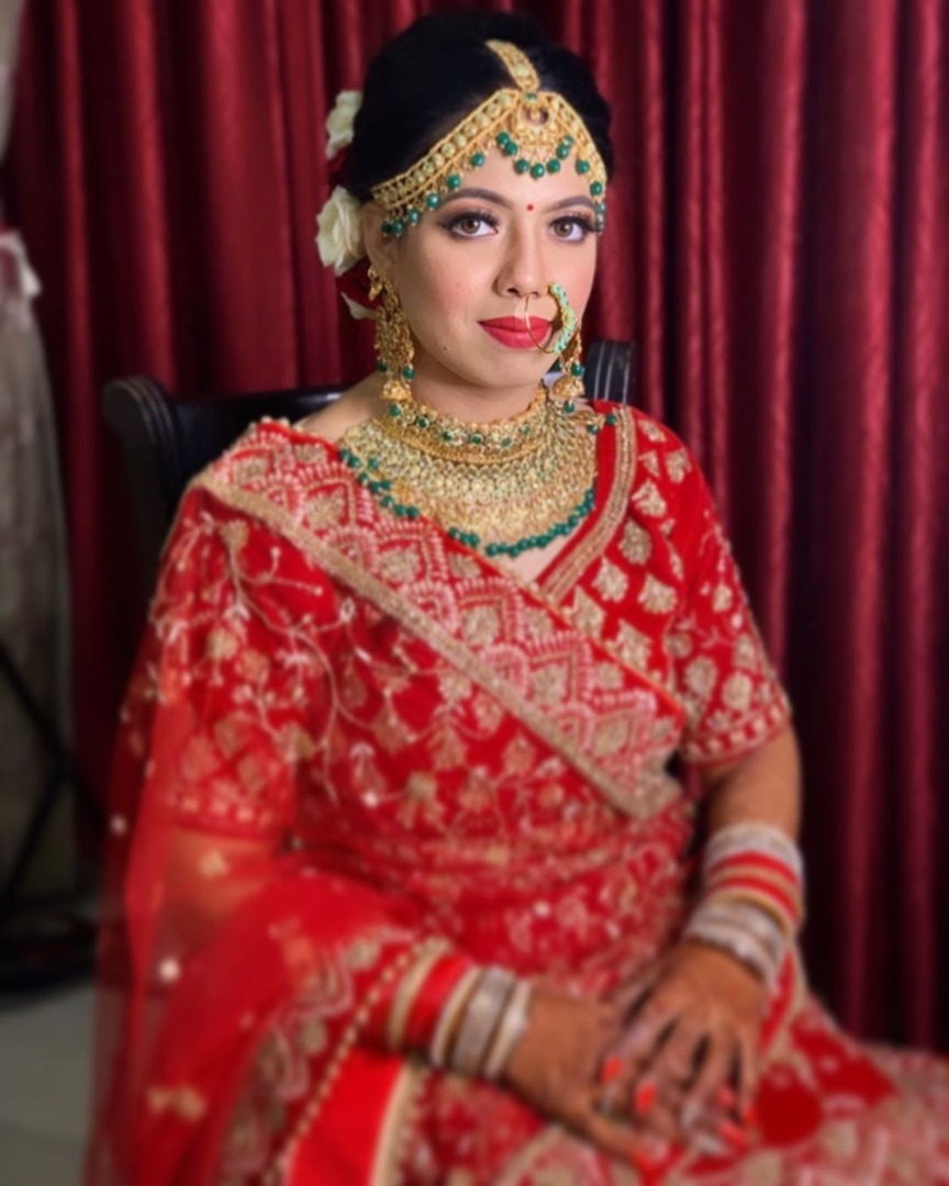 Bridal Makeup with Red and Golden Lehenga