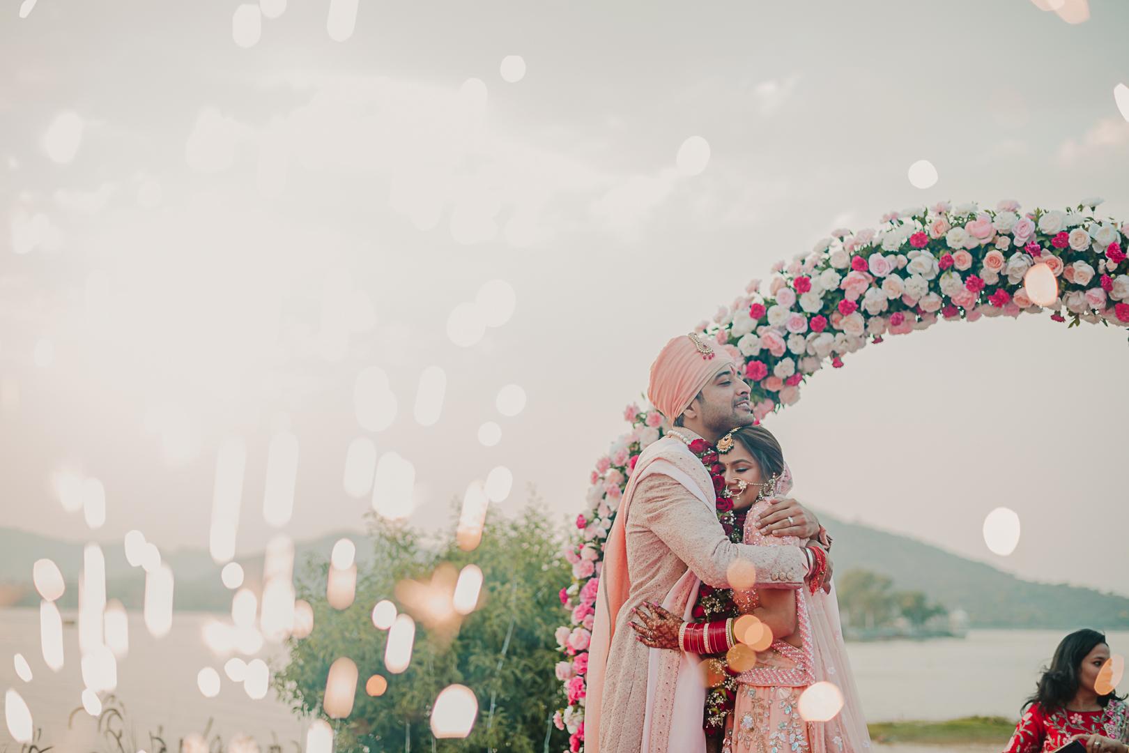 romantic couple shot at their wedding