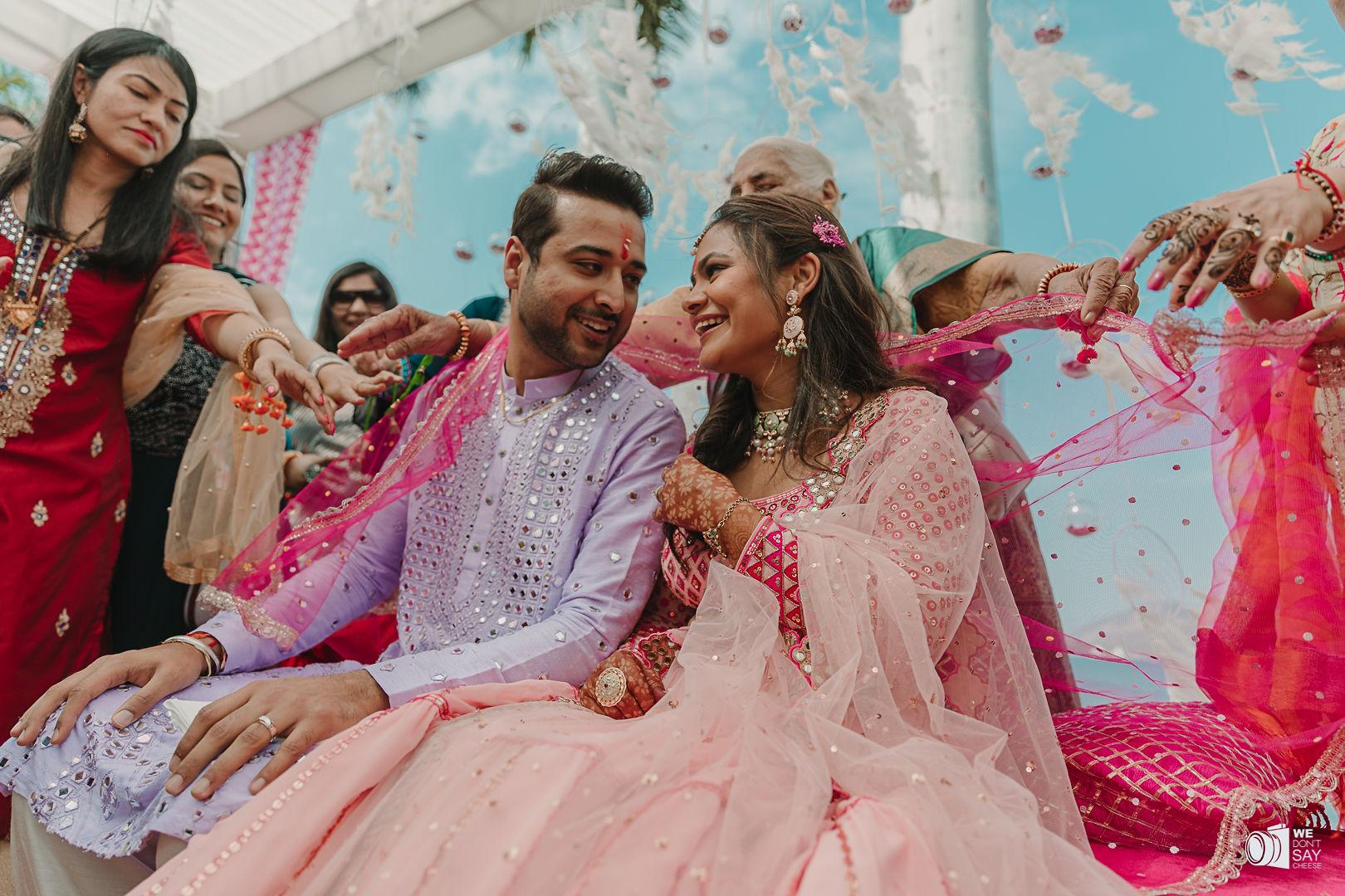 romantic shot of the happy couple
