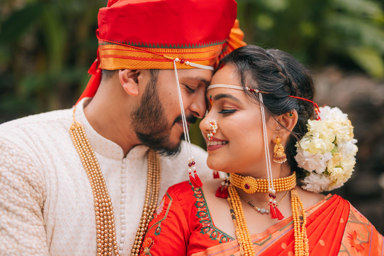 romantic shot of the marathi couple