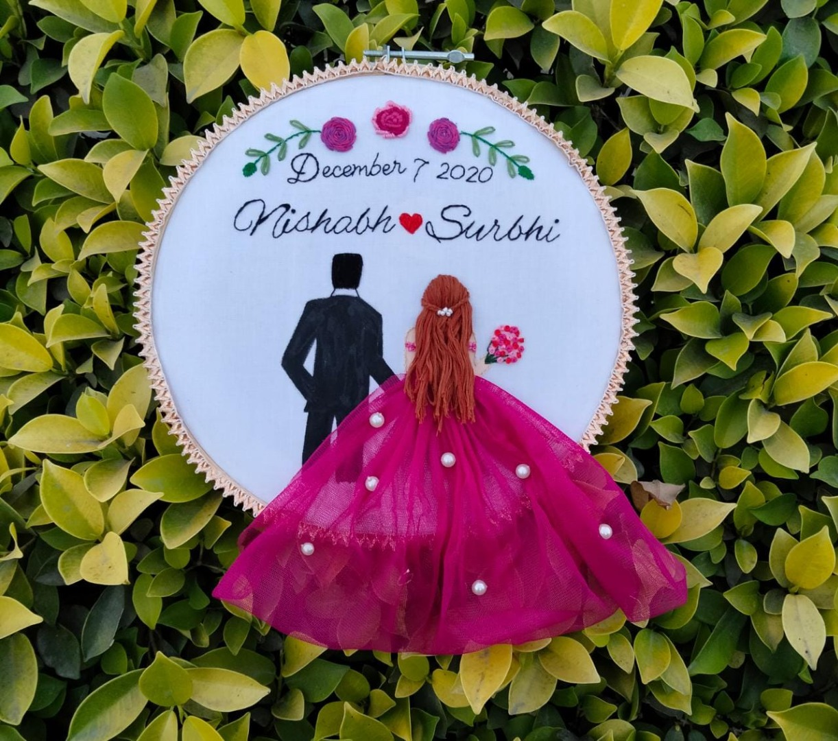 embroidered hoop for the couple