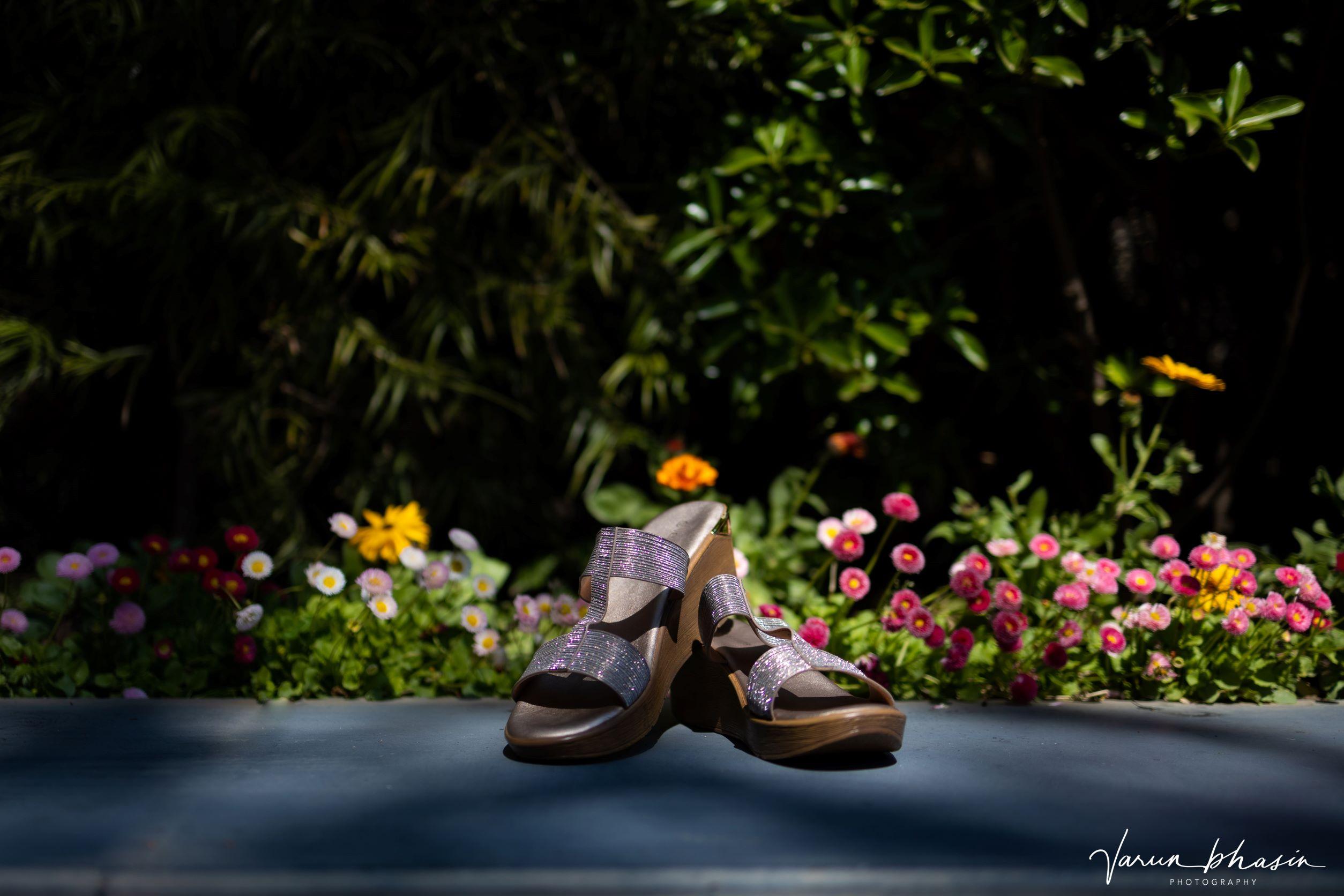 silver glittered bridal heels
