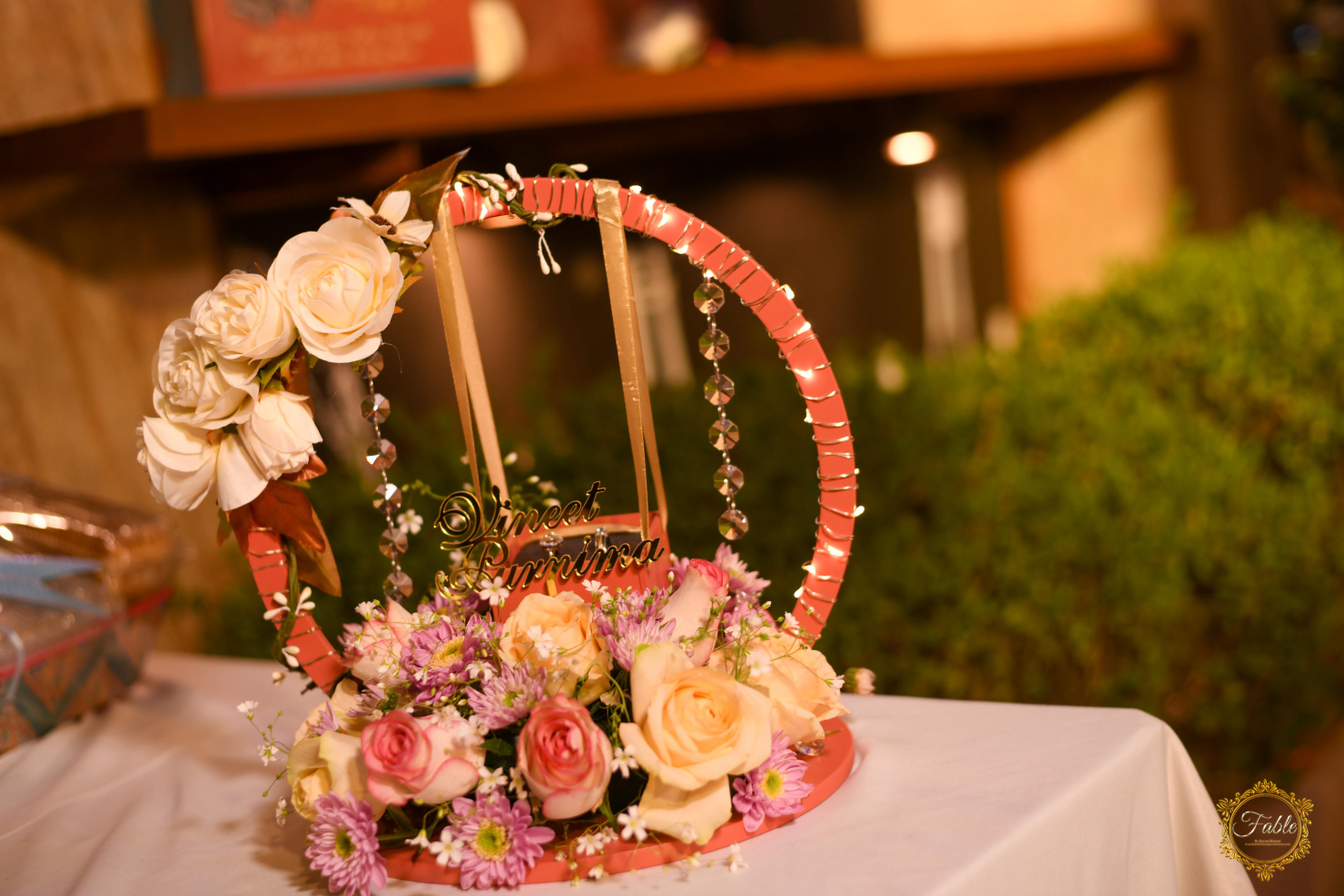 table decor with couple's names