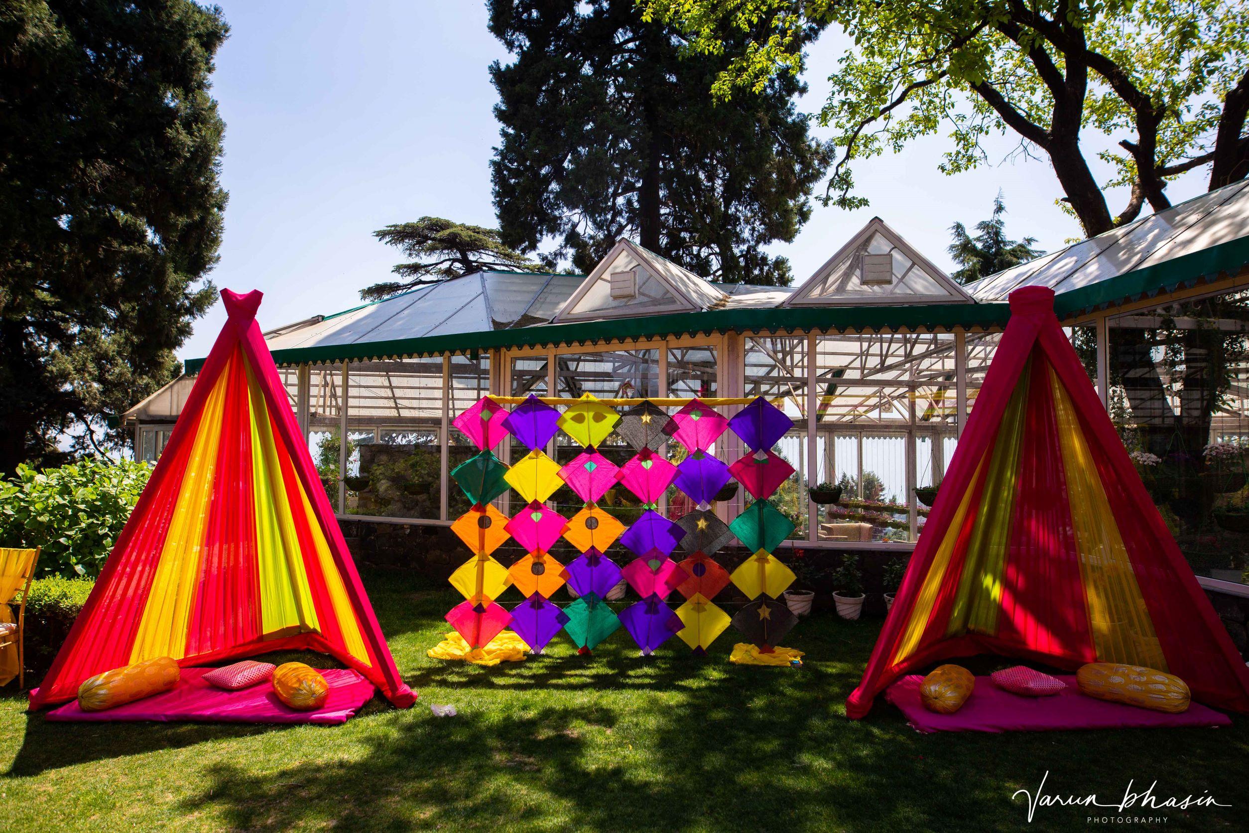 vibrant kites and canopy decor