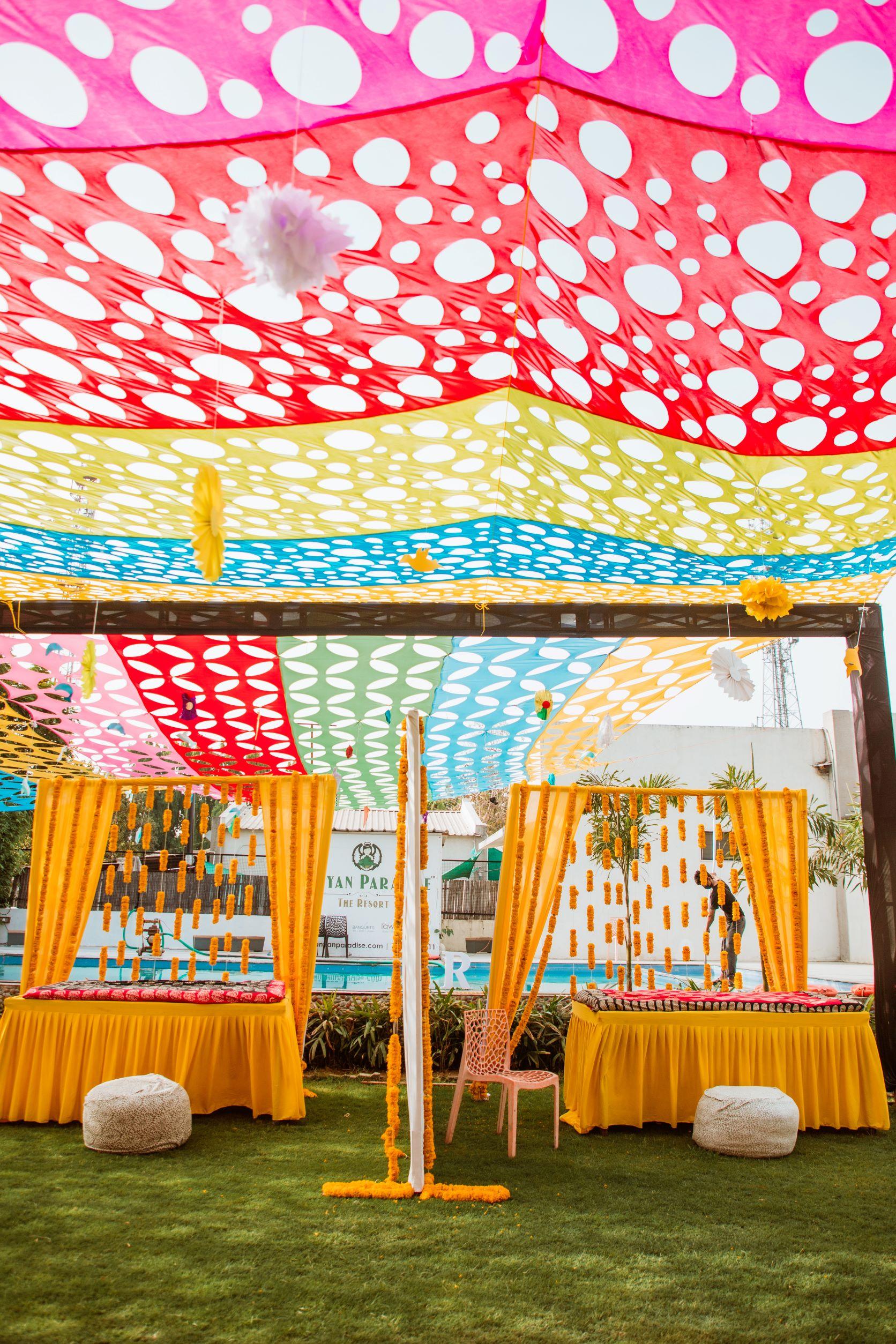 vibrant outdoor haldi decor