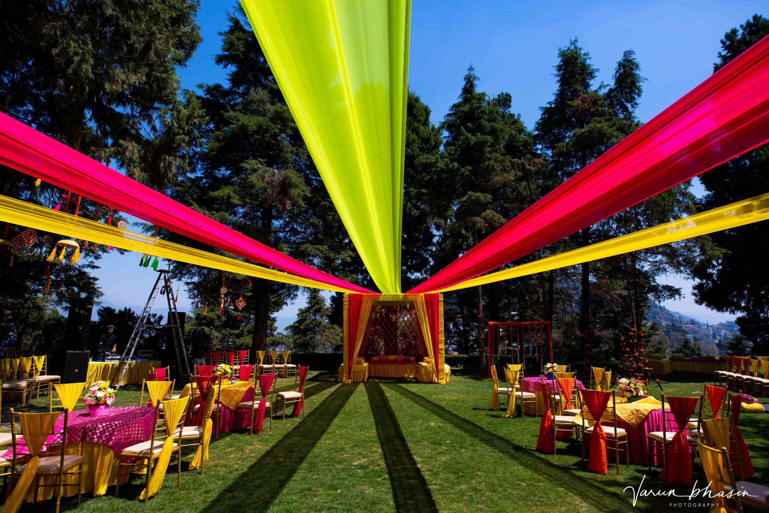 vibrant outdoor mehendi decor