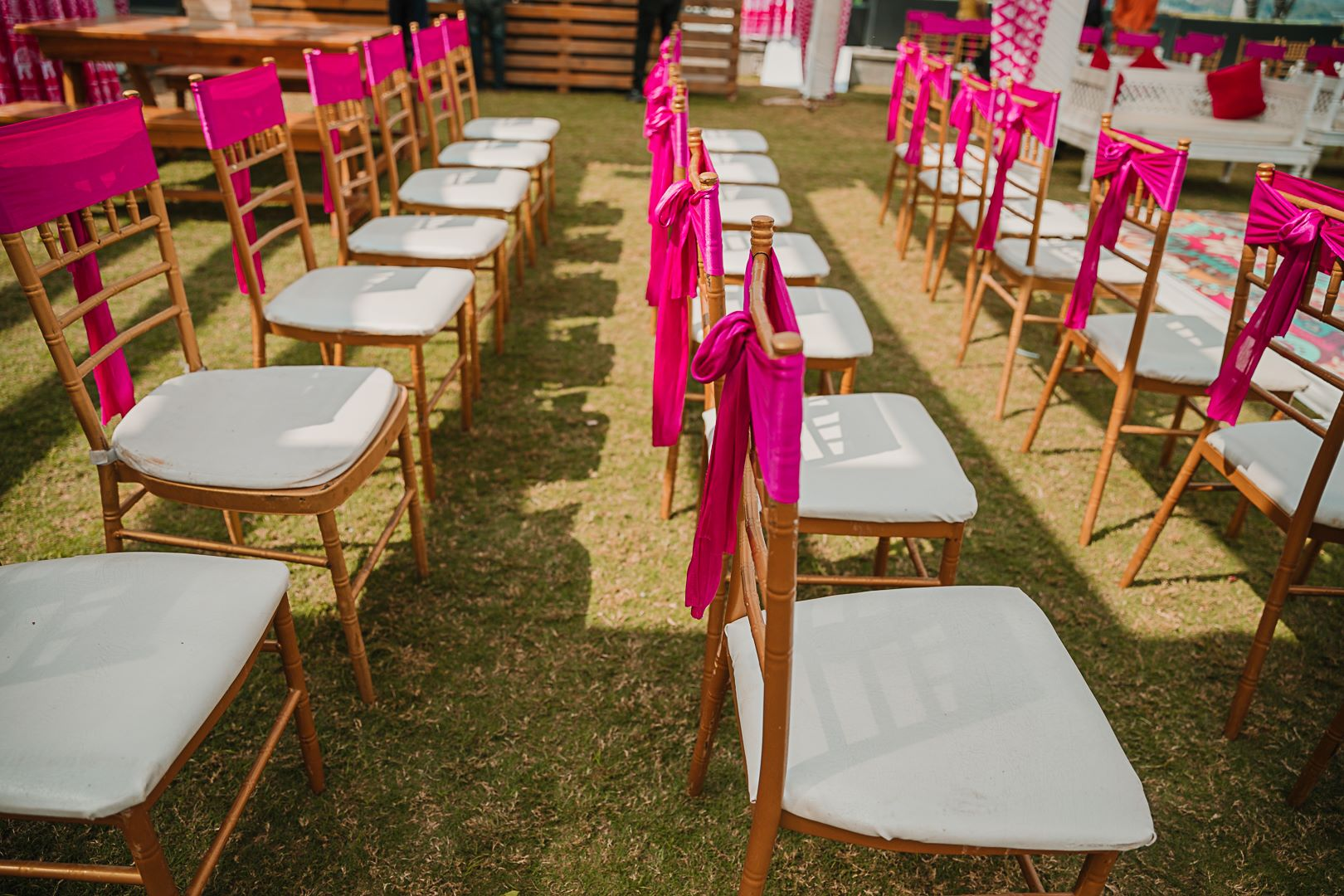 white and pink chair decor