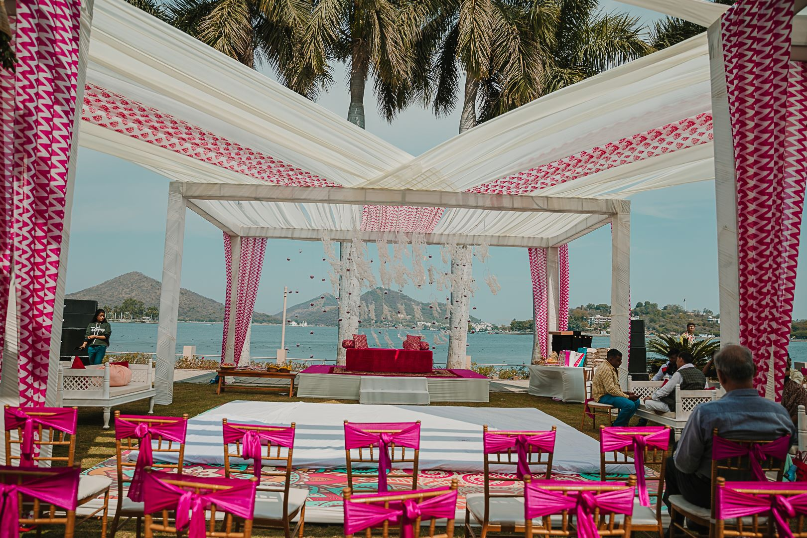 white and pink outdoor wedding decor