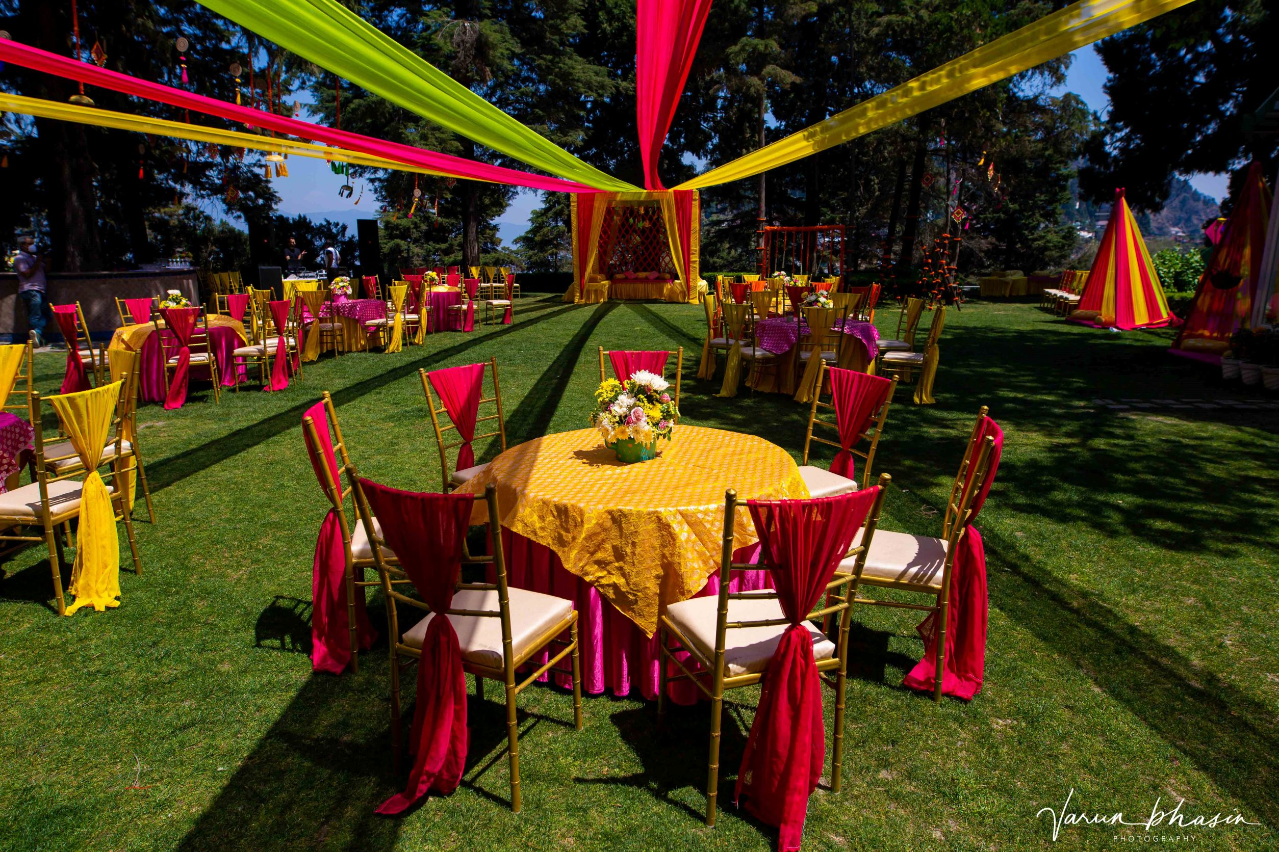 yellow and red table decor