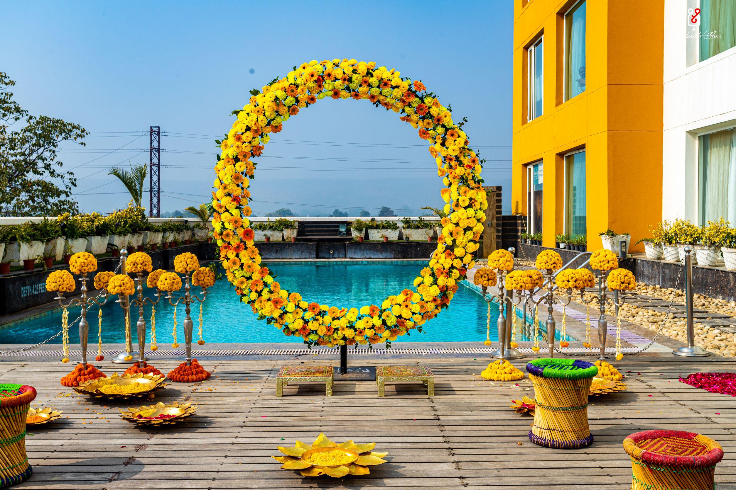 yellow floral decor for haldi