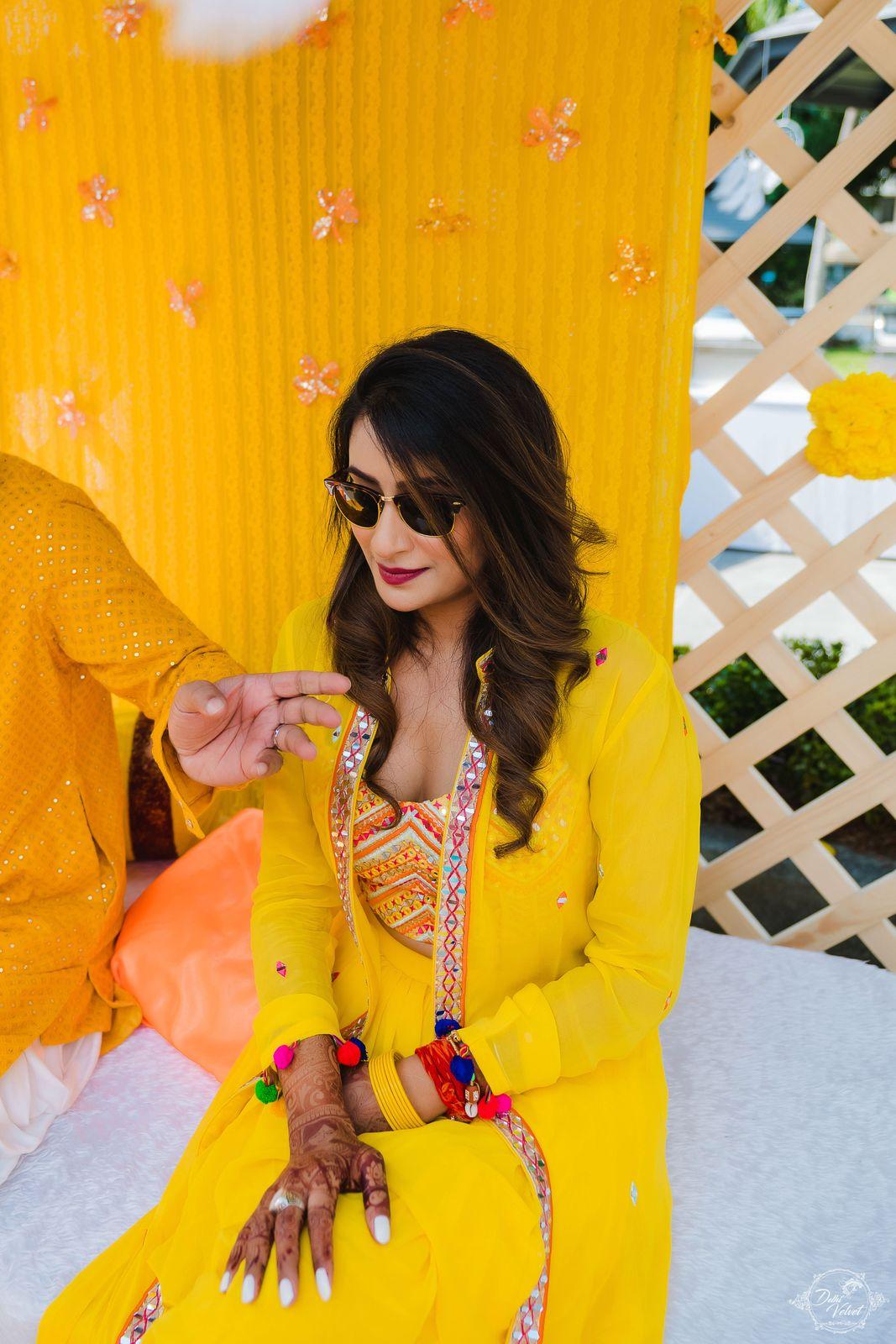 yellow indian bridal wear