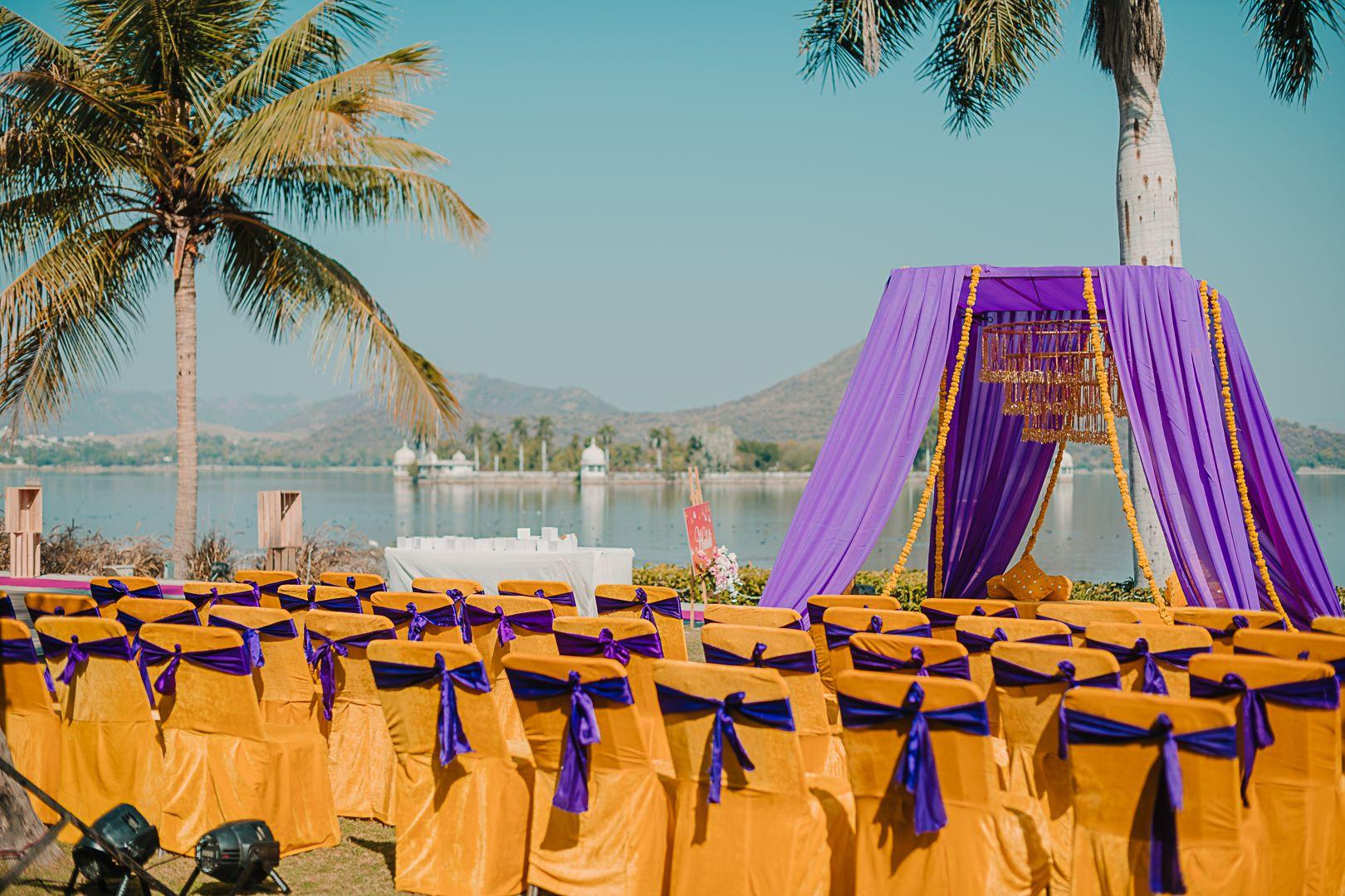 yellow purple haldi decor